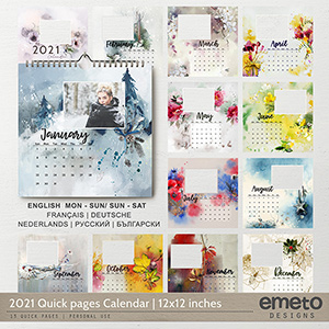 2021 Quick pages Calendar | 12x12 Format