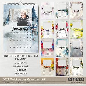 2021 Quick pages Calendar | A4 Format