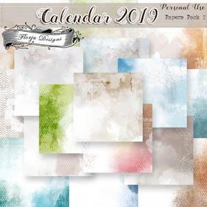 Calendar 2019 DIY { Papers Pack 2 PU } by Florju Designs