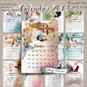 Calendar 2019 { Quick Page PERSONAL USE } by Florju Designs