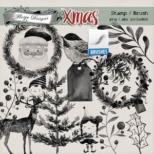Xmas Brush Stamp PU by Florju Designs