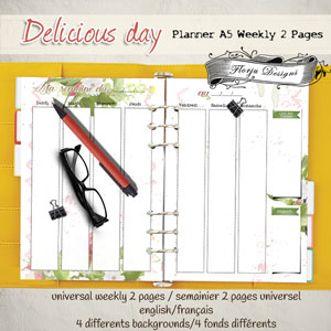 Planner Delicious Day Weekly 2 pages by Florju Designs