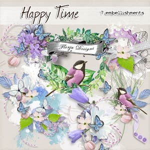 Happy Time { Embellishments PU } by Florju Designs