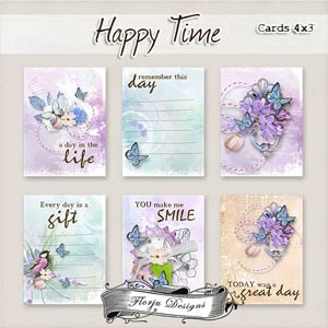 """Happy Time { Cards 4""""x3"""" PU } by Florju Designs"""