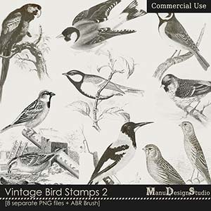 Vintage Bird Stamps 2 - CU