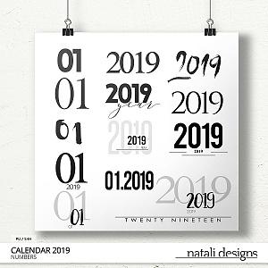 2019 Calendar Numbers