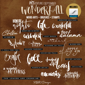 WonderFall {Word Arts – Brushes & Stamps}