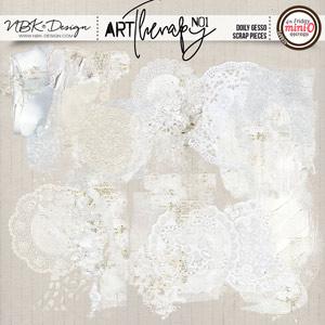 artTherapy No1 {Doily Gesso Scrap Pieces}