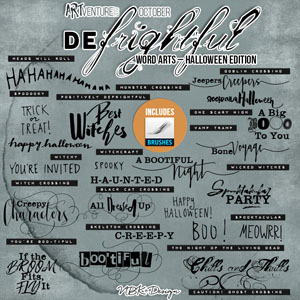 deFrightful {Word Arts Halloween – Brushes & Stamps}