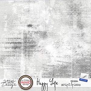 Happy Life {Gesso Script Pieces}