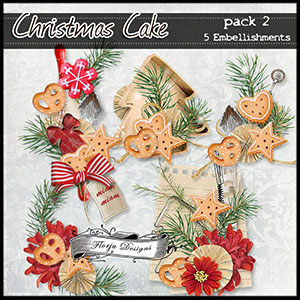 Christmas Cake { Embellishments Pack 2 } by Florju Designs