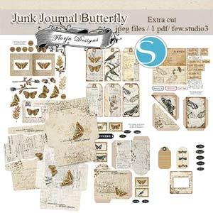 Junk Journal Butterfly [ Extras Cuts PU ] by Florju Designs