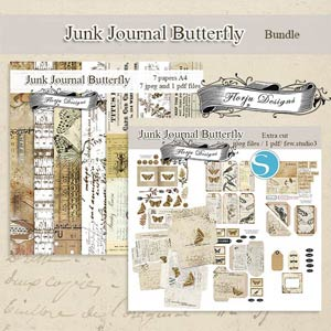 Junk Journal Butterfly [ Bundle PU ] by Florju Designs