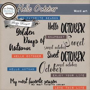 Hello October  { Word Art PU } by Florju Designs