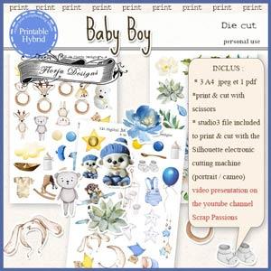 Baby Boy Printable Die cut by Florju Designs PU
