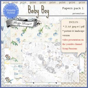 Baby Boy Printable A4 Papers pack 1 by Florju Designs PU
