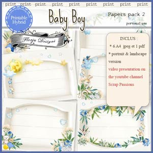 Baby Boy Printable A4 Papers pack 2 by Florju Designs PU