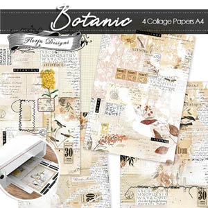 Junk Journal Botanic Collage papers PU by Florju Designs