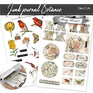 Junk Journal Botanic Die cut PU by Florju Designs