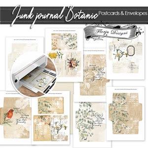 Junk Journal Botanic Postcards PU by Florju Designs