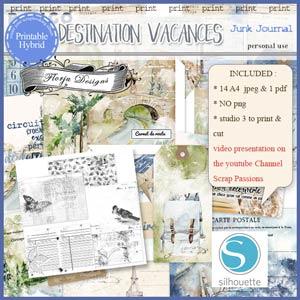 Destination Vacances Junk JOURNAL PU by Florju Designs