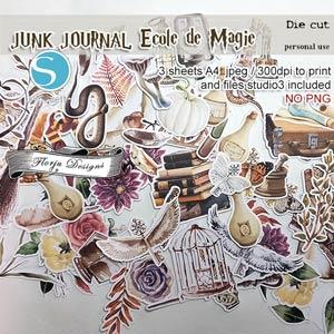 Junk Journal Ecole De Magie Die cuts PU by Florju Designs