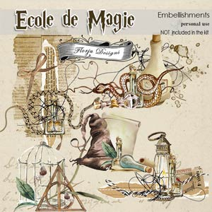 Ecole de magie Embellishments PU by Florju Designs