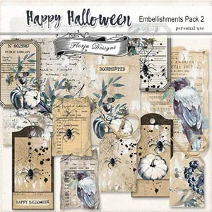 Happy Halloween Embellishments pack 2 PU by Florju Designs