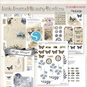 Junk Journal Beauty Restless [Extra Cut PU ] by Florju Designs