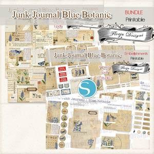 Junk Journal Botanic Blue [Bundle PU ] by Florju Designs