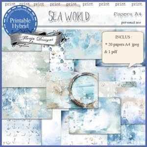 Sea World A4 paper by Florju Designs PU
