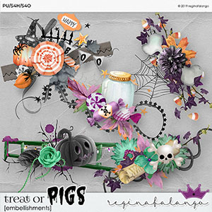 TREAT OR PIGS EMBELLISHMENTS
