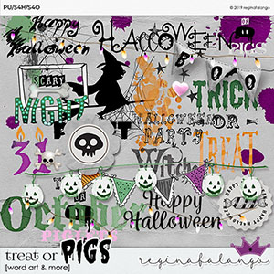 TREAT OR PIGS WORD ART & MORE