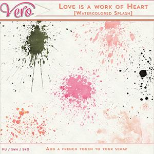 Love Is A Work of Heart Watercolour Splatters by Vero