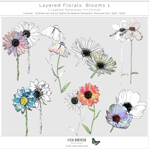 Layered Floral Templates Blooms 01 by Vicki Robinson