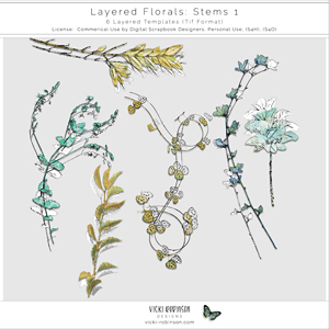 Layered Floral Templates Stems 01 by Vicki Robinson