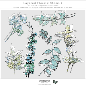Layered Floral Templates Stems 02