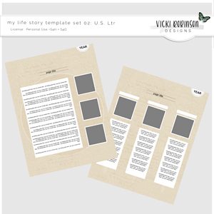 My Life Story Template Set 02 US Letter Size by Vicki Robinson