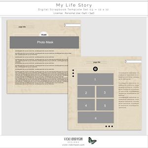 My Life Story Digital Scrapbook Template Set 03 12x12