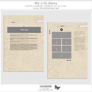 My Life Story Digital Scrapbook Template Set 03 A4
