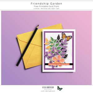 Friendship Garden Printable Card Front Freebie