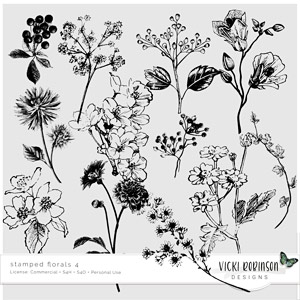 Stamped Florals 04 by Vicki Robinson