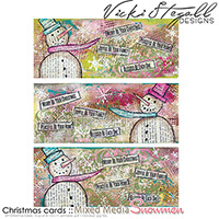 Christmas Cards - 3 up - Mixed Media Snowman
