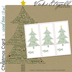 Christmas Cards - 3 up Christmas Tree Wordart