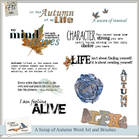 A Scrap of Autumn WordArt and Brushes